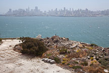 Rubble on Alcatraz Island with San Francisco in the background. - Photo #22151