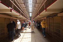 Tourists visiting the prison cell blocks at Alcatraz. - Photo #22143