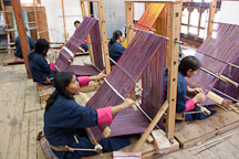 Weaving classroom at the National Institute for Zorig Chusum. Thimphu, Bhutan. - Photo #22922