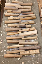 A set of wood carving tools and chisels used by students at the National Institute for Zorig Chusum. Thimphu, Bhutan. - Photo #22897