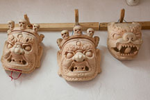 Wooden masks. National Institute for Zorig Chusum, Thimphu, Bhutan. - Photo #22892