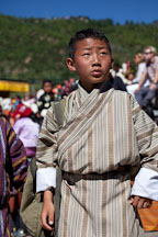 Young boy at the Thimphu tsechu festival. Thimphu, Bhutan. - Photo #22469