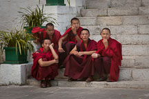 Young Buddhists monks sit on the steps just outside the courtyard at the fortress. Thimphu tsechu, Bhutan. - Photo #22639