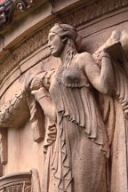 Sculpture of maiden holding garland. Palace of Fine Arts, San Francisco, California, USA. - Photo #124