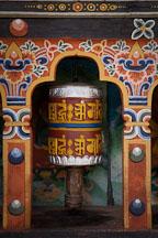 Close-up of prayer wheel at Cheri Monastery. Thimphu Valley, Bhutan. - Photo #23076