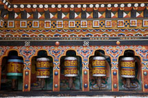 Prayer wheels at Cheri Monastery. - Photo #23075