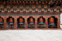 Prayer wheels at Kyichu Lhakhang. Paro, Bhutan. - Photo #23995
