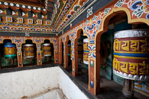 Prayer wheels at Chagri Dorjeden monastery. Thimphu valley, Bhutan. - Photo #23082