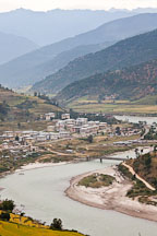 Punakha and the Mo Chhu river. Bhutan. - Photo #23263