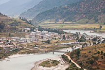 Town of Punakha by the Mo Chhu river. Punakha, Bhutan. - Photo #23260
