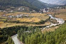 Wang chhu river and rice fields in Thimphu valley, Bhutan. - Photo #23048