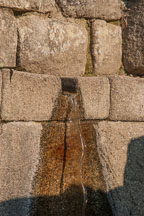 Drainage hole in wall. Machu Picchu, Peru. - Photo #10025