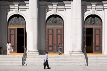 People walking by the church doors. Cathedral Basilica of St. Joseph, San Jose, California. - Photo #16825