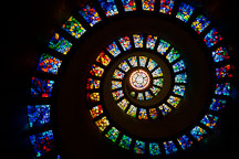 Spiral stained glass in the Thanksgiving Square Chapel. Dallas, Texas. - Photo #24925