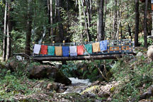 Bridge crossing a small stream. Paro valley, Bhutan. - Photo #24317