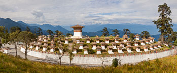 Panorama of the 108 Chorten. Dochu La Pass, Bhutan. - Photo #24378