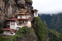 Taktshang Goemba is located high up on the cliff walls of Paro Valley, Bhutan. - Photo #24237