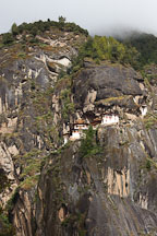 Taktshang monastery is perched on a steep cliff in Paro Valley, Bhutan. - Photo #24289