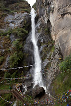 The Shelkar Zar (waterfall) streams holy water. Paro Valley, Bhutan. - Photo #24165