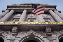Flag over the entrance to City Hall. San Francisco, California, USA. - Photo #1026