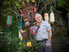 Victor Stangenberg and his sculptures. Inverness, California. - Photo #25521