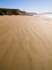 Footprints in the sand at Drake's beach. Point Reyes National Seashore, California. - Photo #25600