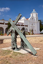 Statue of Jesus carrying cross. Mission San Luis Rey, California. - Photo #26632