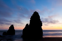 Moon and seastacks at Rodeo Beach. Marin County, California. - Photo #26907