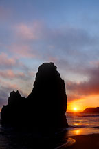Seastacks and sunset. Rodeo Beach, California. - Photo #26895