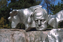 Sculpture of Jean Sibelius (1865-1957) by Eila Hiltunen (1967). Helsinki, Finland. - Photo #328