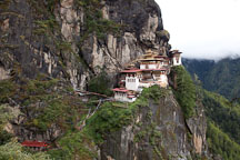 Tiger's Nest monastery is located on a granite cliff wall high above the Paro Valley in Bhutan. - Photo #24228