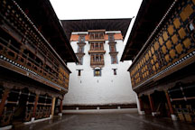 Tower and courtyard in Rinpung Dzong. Paro, Bhutan. - Photo #24028