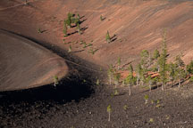 Pine trees and inner crater at Cinder Cone. Lassen NP, California. - Photo #27190