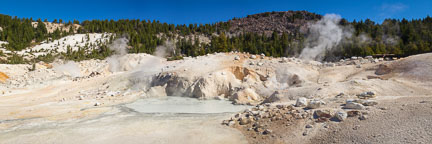 Panorama of Bumpass Hell mud pools. Lassen Volcanic National Park, California. - Photo #27071