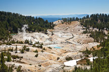 View descending into the Bumpass Hell basin. Lassen NP, California. - Photo #27098