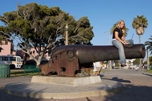 Girl sitting on a Cannon. Palisades Park, Santa Monica, California, USA. - Photo #8229