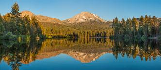 Panorama of Lake Manzanita and Mount Lassen. Lassen Volcanic National Park, Californa. - Photo #27029