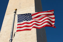 American flag blowing in the wind at the Washington Monument. - Photo #28993