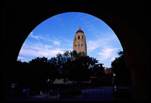 Hoover Tower framed by an arch, Stanford University. Stanford, California, USA. - Photo #1191