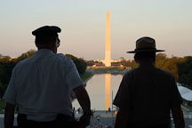 Silhouette of two park rangers. Washington Monument. Washington, D.C. - Photo #1824