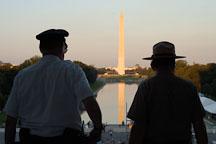 Silhouette of two park rangers. Washington Monument. Washington, D.C. - Photo #1824