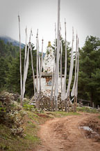 Chorten and prayer flags. Phobjikha Valley, Bhutan. - Photo #23803