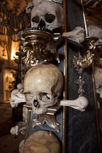 Baroque candelabra made from skulls and bones. Sedlec, Czech Republic. - Photo #29805