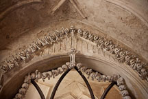 Bones decorating the ceiling vault. Sedlec ossuary, Czech Republic. - Photo #29808