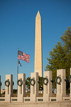 Granite pillars at the WWII Memorial and Washington Monument. - Photo #29009