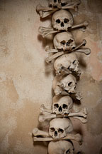 Stacked skulls and bones. Bone church, Sedlec, Czech Republic. - Photo #29837