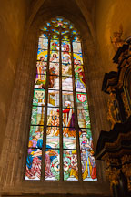 Stained glass window in Saint Barbara Cathedral depicting the visit of Emperor Franz Joseph II. Kutna Hora, Czech Republic. - Photo #29842