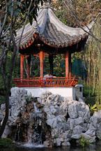 Pagoda on a pond at the Kowloon walled city park. Hong Kong. - Photo #15531