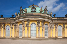 Central bow of the garden facade at Sanssouci. Potsdam, Germany. - Photo #30431