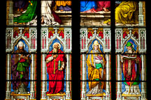 Stained glass with the four fathers of the early church: St Augustine, St Jerome, St Gregory and St Ambrose. Cologne, Cathedral. - Photo #30776